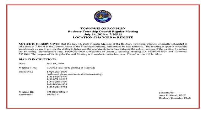 NOTICE Council Mtg 07-14-20 REMOTE ACCESS