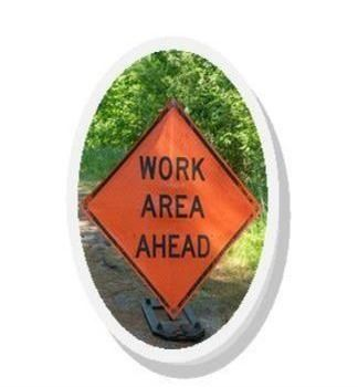 Road dept work sign
